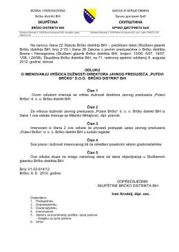 Odluka o imenovanju V D DIREKTORA JP Putevi BOS