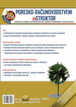 Paragraf Poresko-računovodstveni instruktor • br. 76 • oktobar 2013.