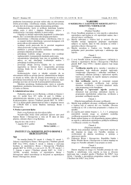 Naredba o mjerilima u zakonskom mjeriteljstvu i rokovima