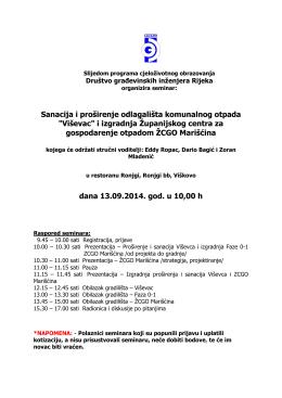 """Sanacija i proširenje odlagališta komunalnog otpada """"Viševac"""" i"""