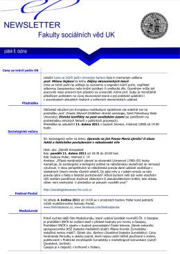 newsletter 8. 4. 2011 - Fakulta sociálních věd