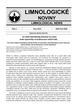 Limnologické noviny č. 1/2013 - Česká limnologická společnost