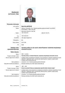 Akademski curriculum vitae - Rudarsko geološko građevinski fakultet