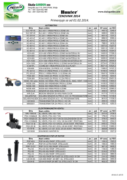 Katalog i cenovnik 2014. - Navodnjavanje i zalivanje