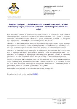 Raspisan Javni poziv za dodjelu subvencija za zapošljavanje novih