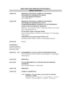 preliminarni program kongresa sreda 04.09.2013