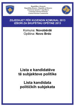 Lista e kandidatėve tė subjekteve politike Lista kandidata političkih