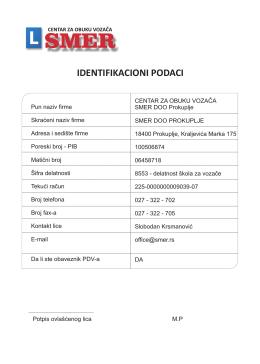 IDENTIFIKACIONI PODACI - Auto škola Smer Prokuplje
