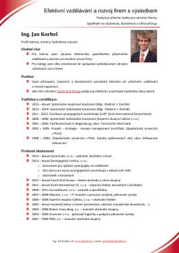 Efektivní vzdělávání a rozvoj firem s výsledkem Ing. Jan Korbel