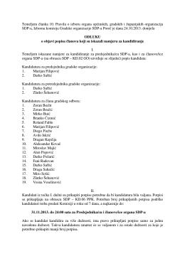 Odluka Izborne komisije o objavi popisa članova koji su