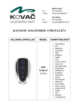 katalog daljinskih upravljača daljinski upravljač model kompatibilnost