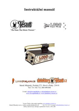 Instruktážní manuál - Detektor kovu Tesoro