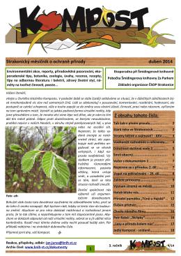 Strakonický měsíčník o ochraně přírody duben 2014 Z obsahu