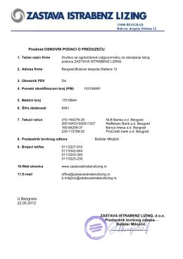Identifikacija firme - zastava istrabenz lizing