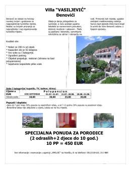 """Villa """"VASILJEVIĆ"""" ðenovići SPECIJALNA PONUDA ZA"""