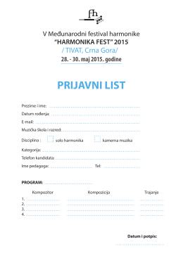 PRIJAVNI LIST - HARMONIKA FEST 2014