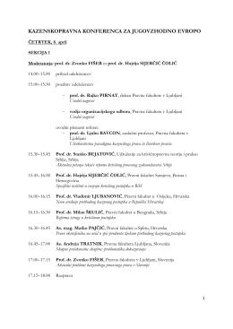 Program konference za JV Evropo