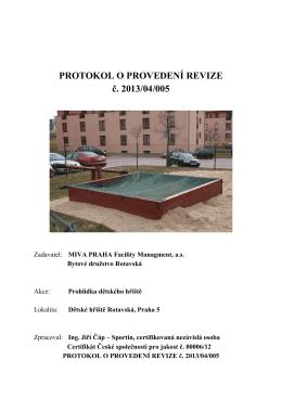 PROTOKOL O PROVEDENÍ REVIZE č. 2013/04/005