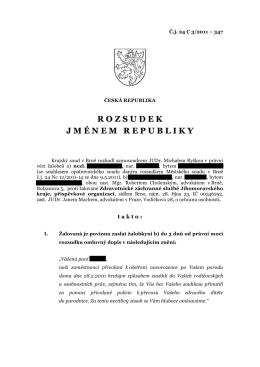 Rozsudek Krajského soudu v Brně ze dne 16