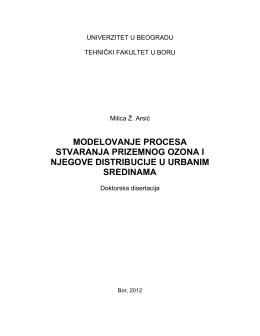 modelovanje procesa stvaranja prizemnog ozona i