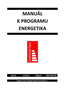 MANUAL ENERGETIKA 13 - software pro stavební fyziku