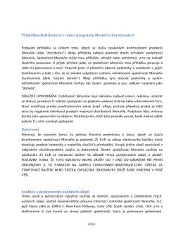 Přihláška distributora v rámci programu MonaVie EuroConnect