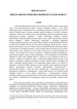 milorad gacevic, prilog kritici diskursa reprezentacije sporta