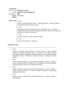 Lični podaci Prezime i ime Bajraktarevic Jasna E
