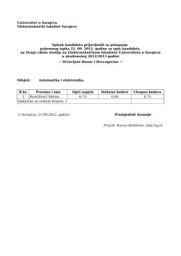 Univerzitet u Sarajevu Elektrotehnički fakultet Sarajevo Spisak