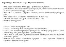 Pojem třídy a struktury v C++ (o – Objektová vlastnost)