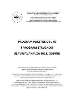 program početne obuke i program stručnog usavršavanja za 2013