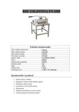 RDC GILJOTINA FN 4305 Tehničke karakteristike