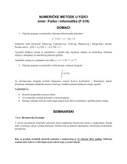 NUMERIČKE METODE U FIZICI smer: Fizika i informatika (F