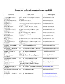 Едукатори во Педијатриски амбуланти во ПЗЗ.