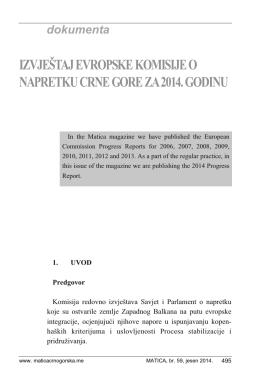 Izvještaj Evropske Komisije
