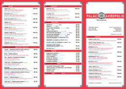 Jídelní lístek - Palác Akropolis