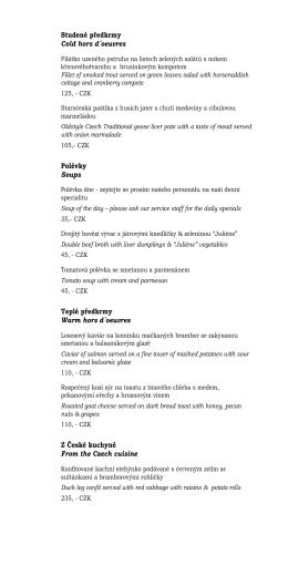 Návrh menu : Bar