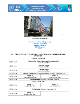 Final Program SIE2012 - University of Belgrade