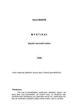 Karel MAKOŇ - MYSTIKA I. Západní starověká tradice