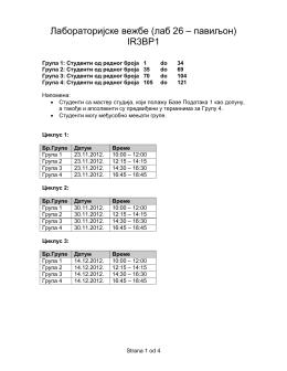 Лабораторијске вежбе (лаб 26 – павиљон) IR3BP1