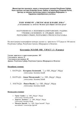 Категорија I-II разред - удружење војвођанских учитеља