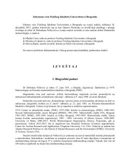 Izbornom veću Fizičkog fakulteta Univerziteta u Beogradu