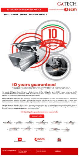 SCM daje 10 godina garancije na sistem za vođenje kolica