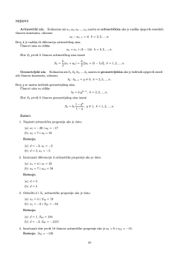 NIZOVI Aritmeticki niz. Koknacan niz a 1,a2,a3, ..., an naziva se