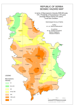 REPUBLIC OF SERBIA SEISMIC HAZARD MAP