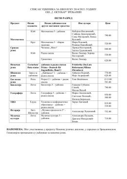 списак уџбеника за школску 2014/2015. годину ош