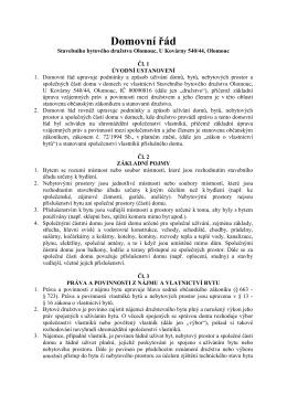Domovní řád 2012 - Stavební bytové družstvo Olomouc