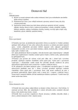 Domovní řád - podlysinamik.cz