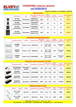 Cenovnik solarne opreme