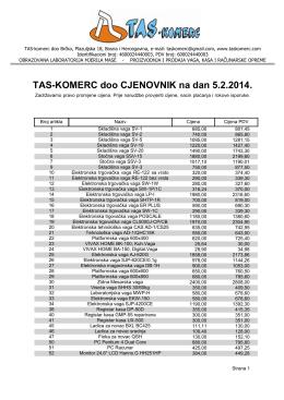 TAS-KOMERC doo CJENOVNIK na dan 5.2.2014.